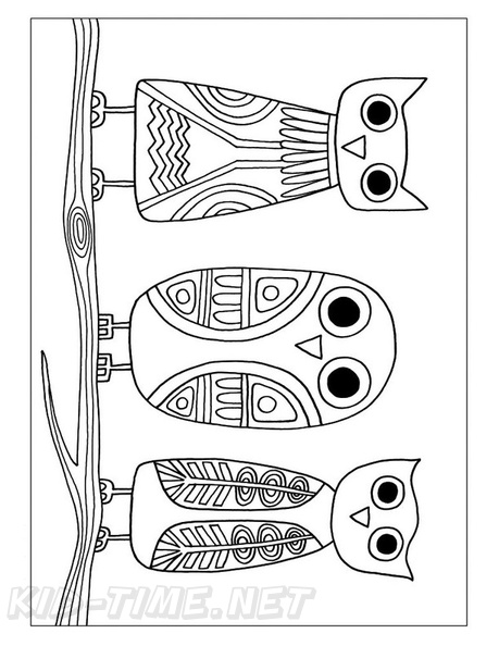 Aboriginal Animal Birds Owl Drawings Coloring Book Page Free