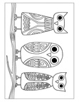 Aboriginal Animal Birds Owl Drawings Coloring Book Page