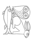 Aboriginal Animal Owl Rabbit Fish Drawings Coloring Book Page