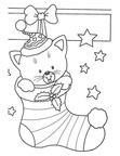 Cat Christmas Coloring Book Page