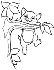 Cute Cat Coloring Book Page
