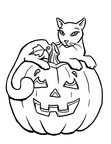 Cat Halloween Coloring Book Page