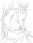 Russian Blue Cats Coloring Book Page