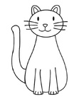 Cat Simple Toddler Easy Coloring Book Page