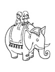 Elephant Ride Coloring Book Page