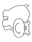 Simple Hippopotamus Hippo Toddler Coloring Book Page