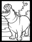 Realistic Hippopotamus Hippo Coloring Book Page