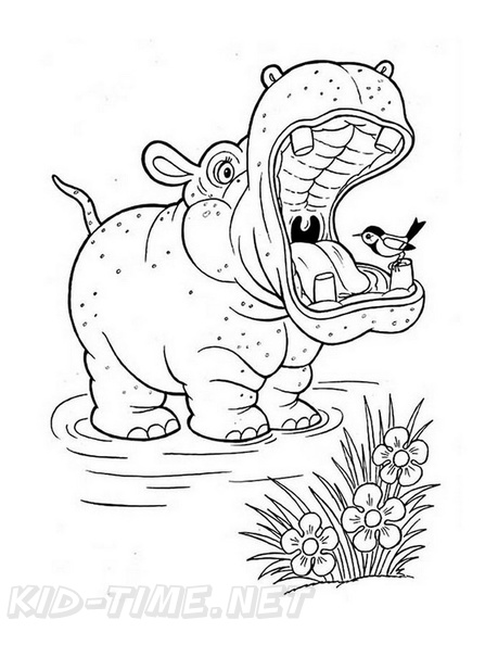 Printable Hippo Coloring Pages For Kids | 594x459