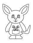 Cute Kangaroo Coloring Book Page