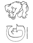 G Gorilla Animal Alphabet Coloring Book Page