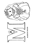 M Mouse Animal Alphabet Coloring Book Page