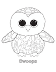Swoops Owl Beanie Boo Coloring Book Page