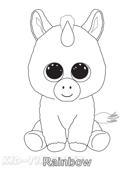 Rainbow Unicorn Beanie Boo Coloring Book Page Free Coloring Book Pages  Printables