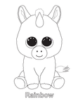 Rainbow Unicorn Beanie Boo Coloring Book Page
