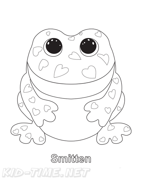 Smitten Frog Beanie Boo Coloring Book Page Free Coloring Book