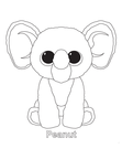 Peanut Elephant Beanie Boo Coloring Book Page