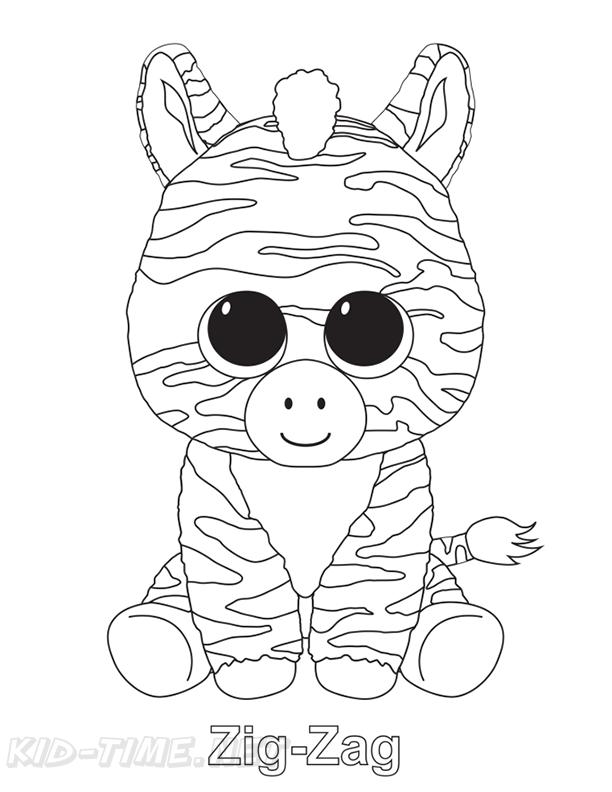 Zig-Zag Zebra Beanie Boo Coloring Book Page