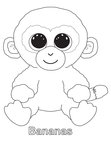 Bananas Monkey Beanie Boo Coloring Book Page