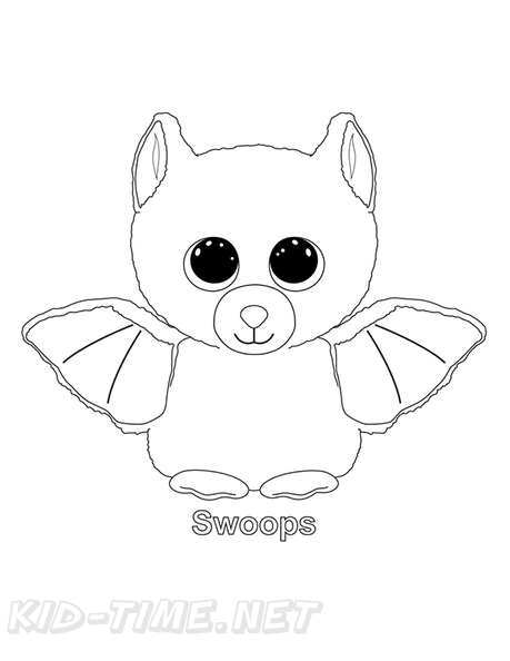 Swoops Bat Beanie Boo Coloring Book Page Free Coloring Book Pages  Printables