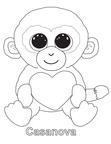 Casanova Monkey Beanie Boo Coloring Book Page