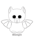 Midnight Bat Beanie Boo Coloring Book Page