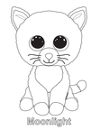 Moonlight Cat Beanie Boo Coloring Book Page