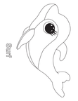 Surf Dolphin Beanie Boo Coloring Book Page