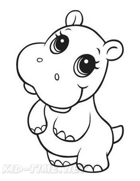 Baby Hippopotamus Hippo Coloring Book Page Free Coloring Book Pages Printables